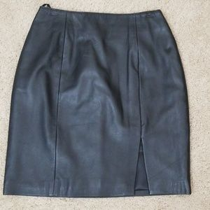 New Black Leather High Waisted Skirt